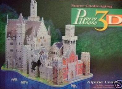 alpine castle 3d puzzle, rare milton bradley wrebbit licensed 3d jigsaw puzzle, foam puzzle alpine-castle-milton-bradley-puzz3d