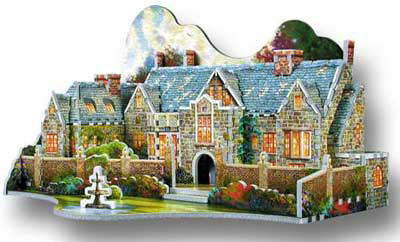 3d jigsaw puzzle garden, gated house puzz3d, manufactured by wrebbit gardenbeyondspringgate