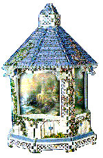 a 3d jigsaw puzzle of a gazebo, art by thomas kinkade, lamplight bridge gazebo