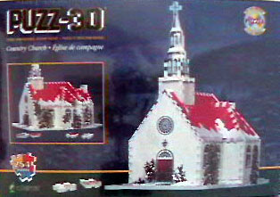 country church jigsaw 3d puzzle by wrebbit, 250 pieces, rare collector's puzz3d countrychurch