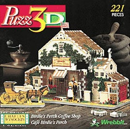 3d puzzle based on charles wysocki paintings, rare birdie's perch coffee shop, wrebbit puzzle birdiesperchcoffeeshop