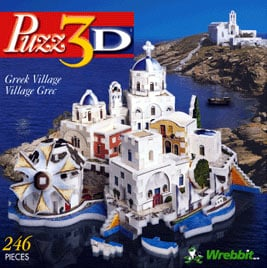 puzz3d greek village, rare wrebbit jigsaw puzzle, white-washed houses puzzle greekvillage
