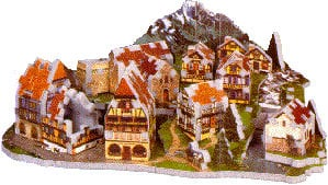 3D jigsaw puzzle, alpine village, wrebbit 3d puzz, rare collector's puzzle alpinevillage