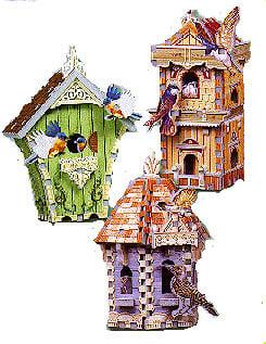 birdhouse tri-pack, 3d puzzle by wrebbit, birdhouse with sounds,  swiss hut, double decker, gazebo birdhousetripack