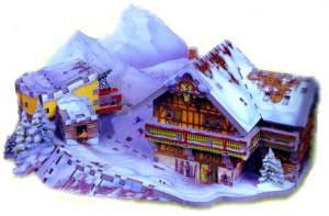 jigsaw puzzle, ski chalet, puzz-3d manufactured by wrebbit, snow scene skichalet