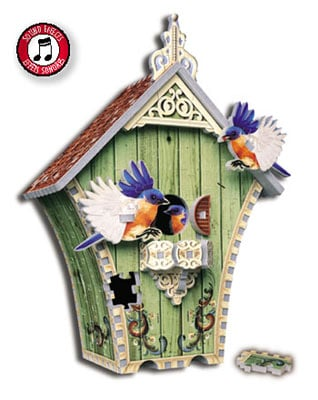 birdhouse puzzle, bird sounds birdhouse, puzz3d by wrebbit, birdhousewithsoundmodule