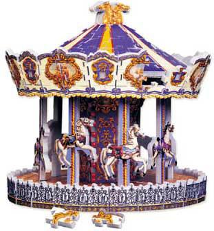 golden carousel rare jigsaw puzzle, 3d wrebbit puzz3d, goldencarousel