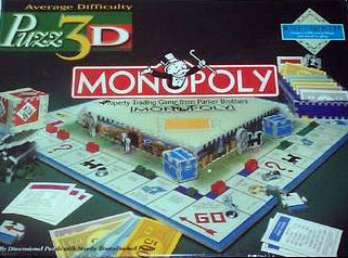 puzz3d monopoly, jigsaw puzzle by wrebbit, rare jigsaw puzzle, 755 pieces, wrebbit puzz3d monopoly