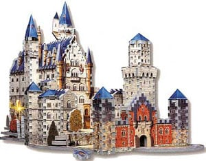 neuschwanstein castle 3d puzzle by wrebbit, fully illuminated 3d jigsaw puzzles,  puzz3d 834 pieces, neuschwansteincastlewithlights