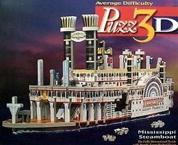 mississippi steamboat, rare 3d jigsaw puzzle by wrebbit, puzz3d mississippisteamboat