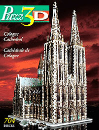 cologne cathedral 3d jigsaw puzzle by wrebbit, german cathedral rare puzzle colognecathedralmiltonbradleypuzzle3d