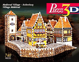 medieval village rothenburg 3d jigsaw puzzle, rare jigsaw puzzle bavarian alps medievalvillagerothenburg