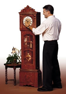 life size grandfather clock 3d puzzle, rare jigsaw puzzle by wrebbit of a clock grandfatherclocklifesize