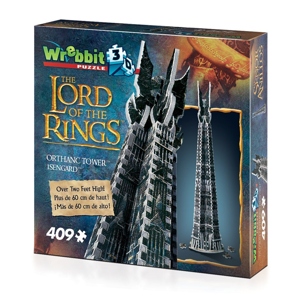 3d jigsaw puzzle of orthanc tower from lord of the rings, lotr the two towers, wrebbit jigsaw puzzle orthanc-tower