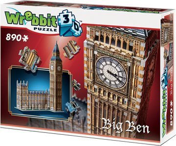 big ben and parliament 3d puzzle by wrebbit, 3diemnsional jigsaw puzzle, 890 pieces, 28.75inches hig bigben-parliament