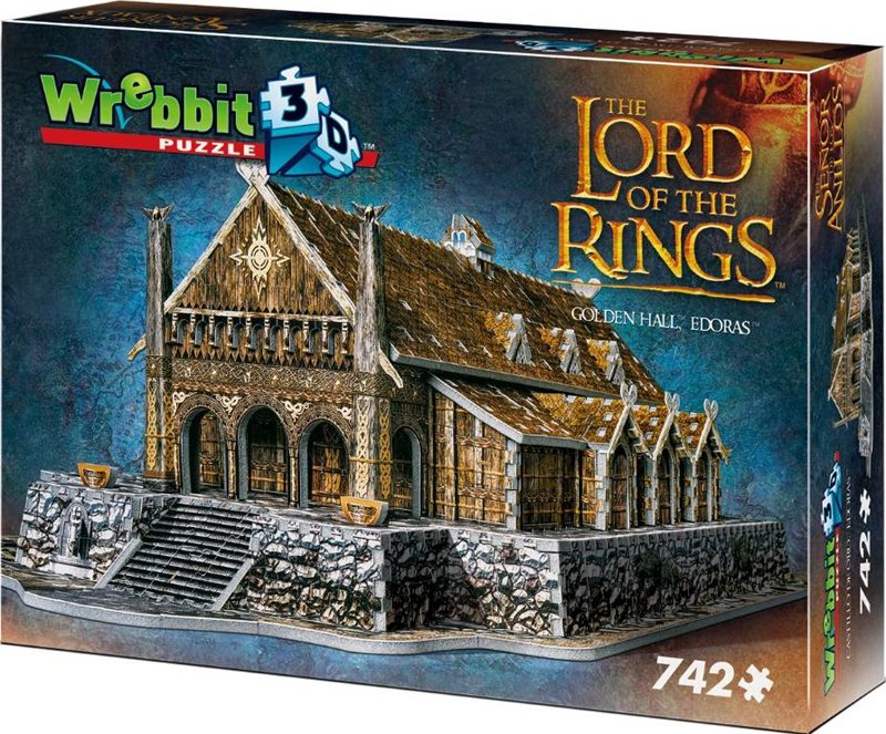 golden hall 3d puzzle, lord of the rings jigsaw puzzles 742 pieces, wrebbitt puzzles golden-hall