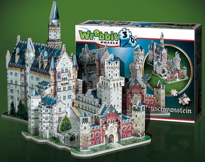 3d jigsaw puzzles of castles, neuschwanstein castle, jigsaw puzzles by wrebbitt puzz3d neuschwanstein-castle-3d