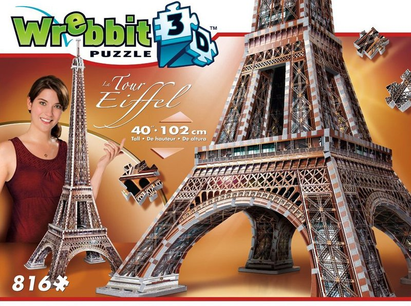 eiffel tower 3d jigsaw puzzle by wrebbit, rare foam puzzle, 816 pieces eiffel-tower-puzz3d