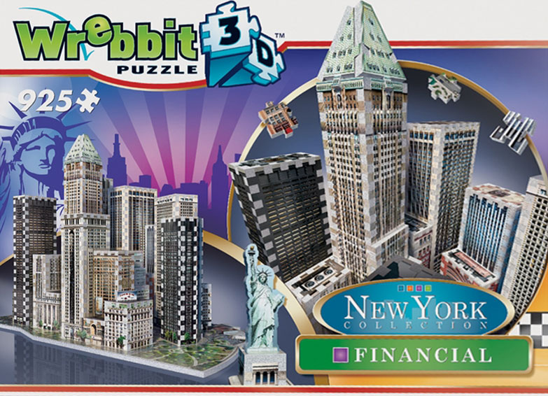 new york city financial 3d puzzle collection, puzz3d skyscraper puzzles, wrebit maker 3d nyc-financial-3d