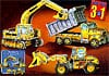 wrebbit puzz3d of three construction vehicles, dump truck crane bulldozer, 247 pieces for this rare