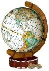 spherical jigsaw puzzle of an ancient world globe, 3d wrebbit jigsaw puzzle