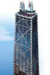 johnhancockcenterglowinthedark,jigsaw puzzle wrebbitt 3d john hancock center, tribune tower, puzzles, 375 pieces, 31 inches high, 3