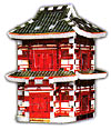 a 3d mini puzzle of a japanese pagoda, wrebbit puzz3d mini, 78 pieces, mini puzz