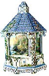 a 3d jigsaw puzzle of a gazebo, art by thomas kinkade, lamplight bridge