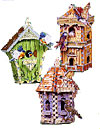 birdhousetripack,birdhouse tri-pack, 3d puzzle by wrebbit, birdhouse with sounds,  swiss hut, double decker, gazebo