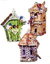 birdhouse tri-pack, 3d puzzle by wrebbit, birdhouse with sounds,  swiss hut, double decker, gazebo