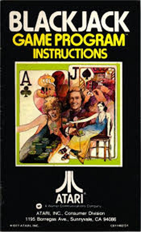 Blackjack (Atari 2600 Video Game) Video Game Back Title by WonderClub