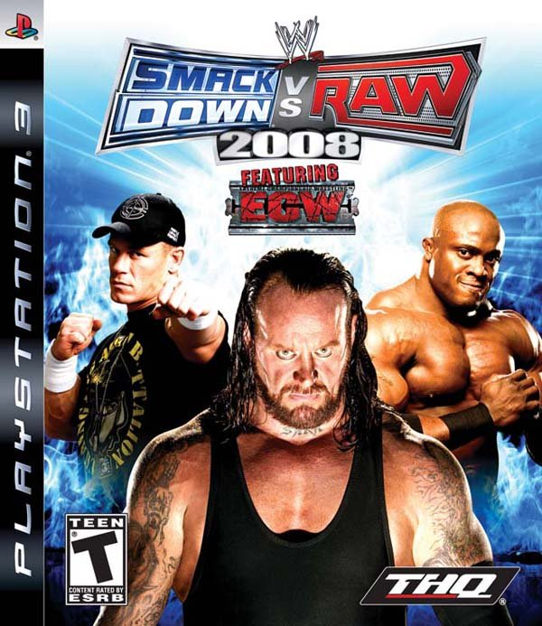 WWE SmackDown Vs. Raw 2008 Video Game Back Title by WonderClub